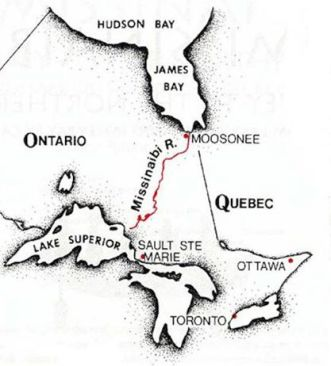 Our route from Lake Superior - James Bay via Canoe