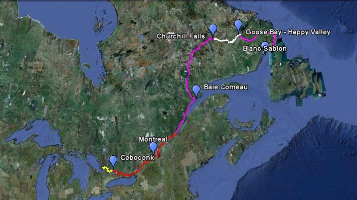 Our route via Rowboat, Bike and Canoe