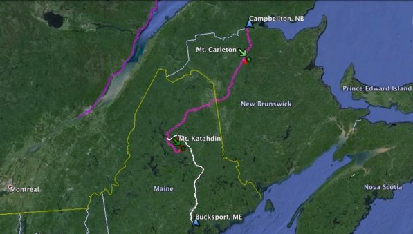 Campbellton, NB - Bucksport, ME via Bicycle (442km), Hiking (76km) and Canoe (285km)
