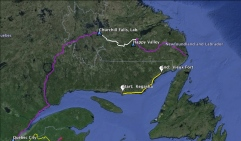 Our route in yellow, 418km via the Route Blanche on Snowshoes over 28 days.