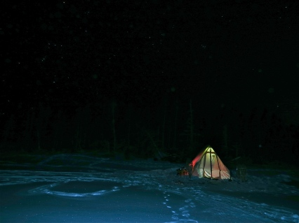 Camped out in our SnowTrekker Tent on Lac Salée with Orion and his belt watching over.