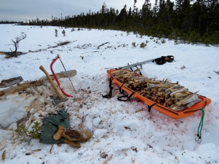 A huge part of our daily exercise regime: harvesting, sawing, splitting and stacking. One full sled would be enough for our night time and morning fires, with sometimes a small handful leftover to take with us.